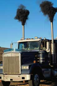Diesel truck with black smoke