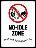 No idling zone sign