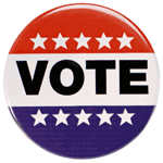 vote pin with stars and stripes