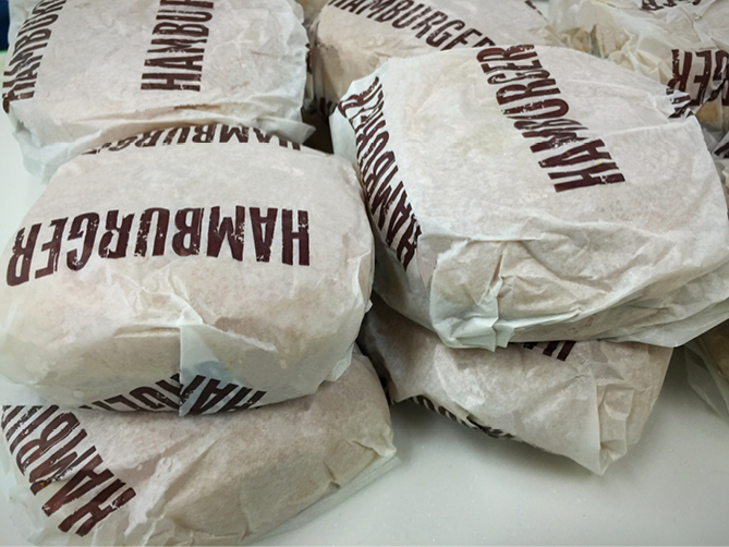 Fast food hamburger wrappers
