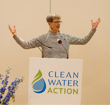 Barbara Helmick addressing the crowd at Clean Water Action's annual event