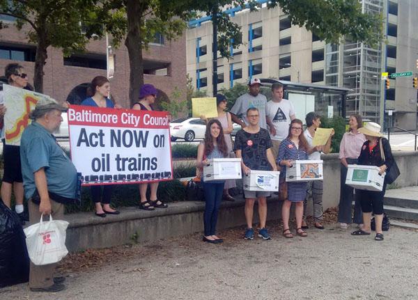 baltimore oil train action (Jennifer Kunze, Clean Water Action)