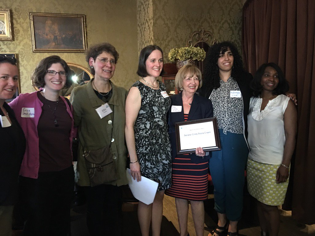 Ellie (3rd from left) joins Clean Water Action in honoring Senator Cynthia Stone Creem (D-Newton) for her work on legislation to ban toxic flame retardants