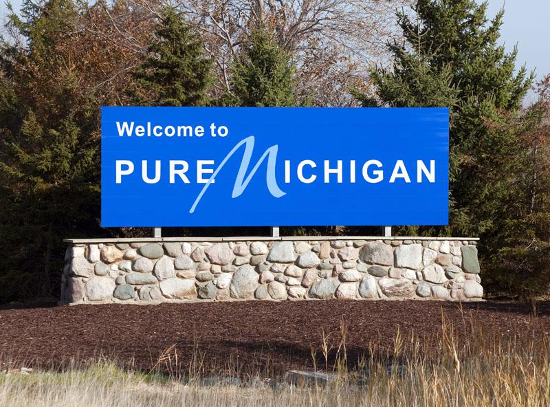 """Pure Michigan"" sign. Photo credit: Katherine Welles / Shutterstock"
