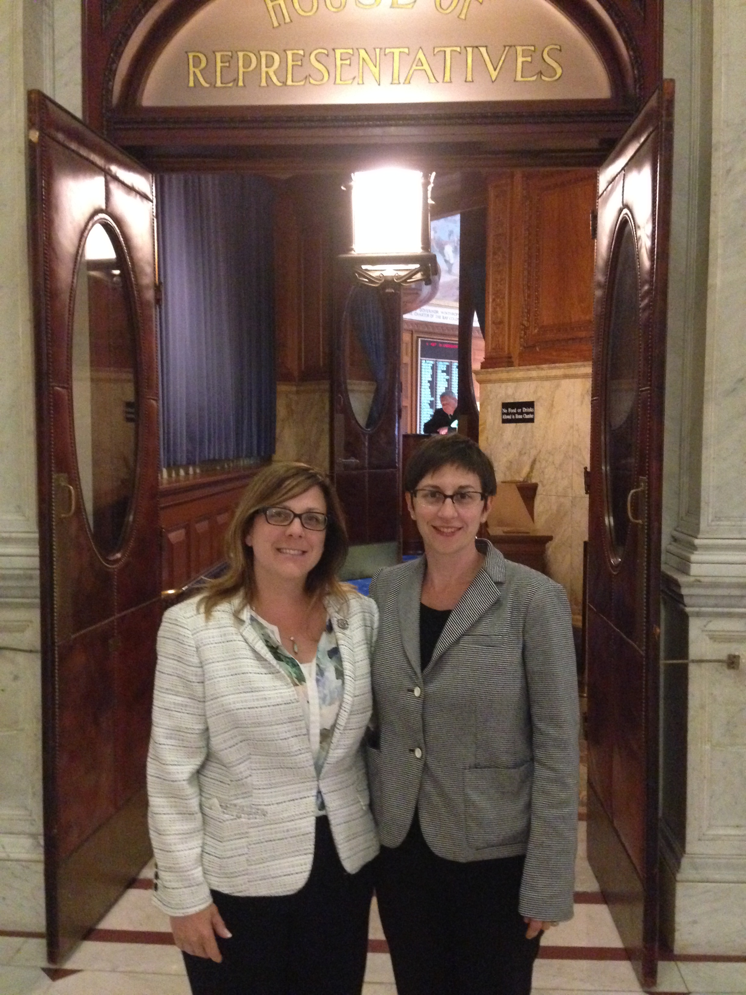 Massachusetts Representative Michelle DuBois (D) Tenth Plymouth District with Becky Smith, MA Campaigns Director CWA