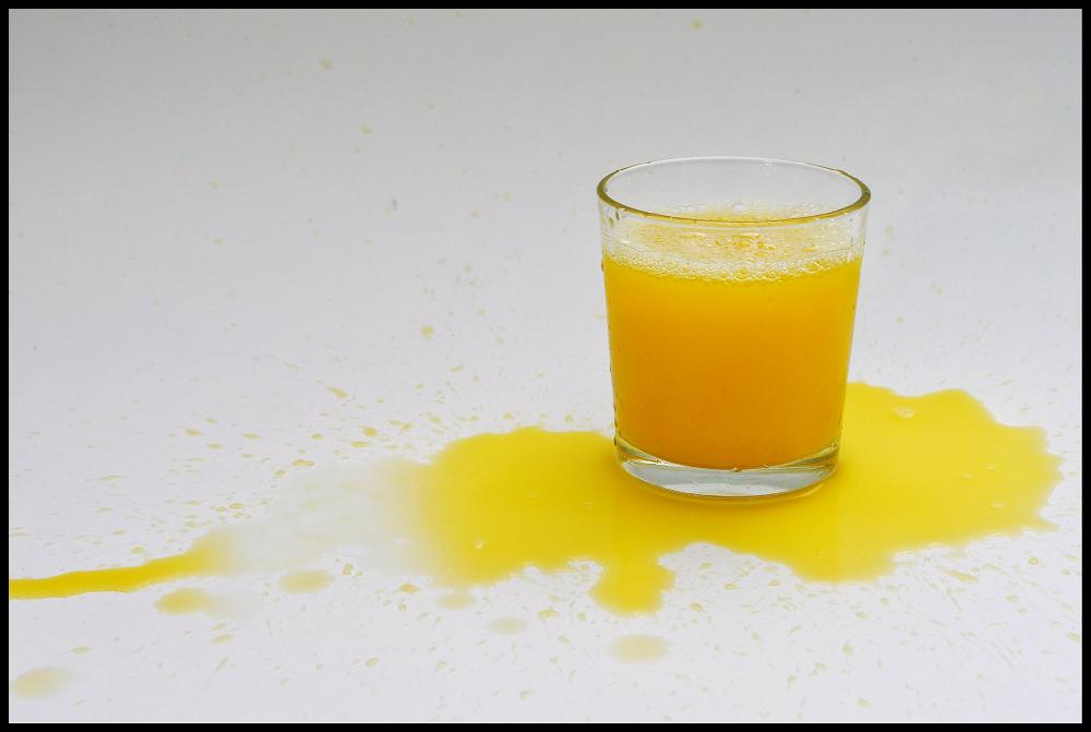 Spilled orange juice -- crtedit Martin Brigden (Flickr -- Creative Commons)