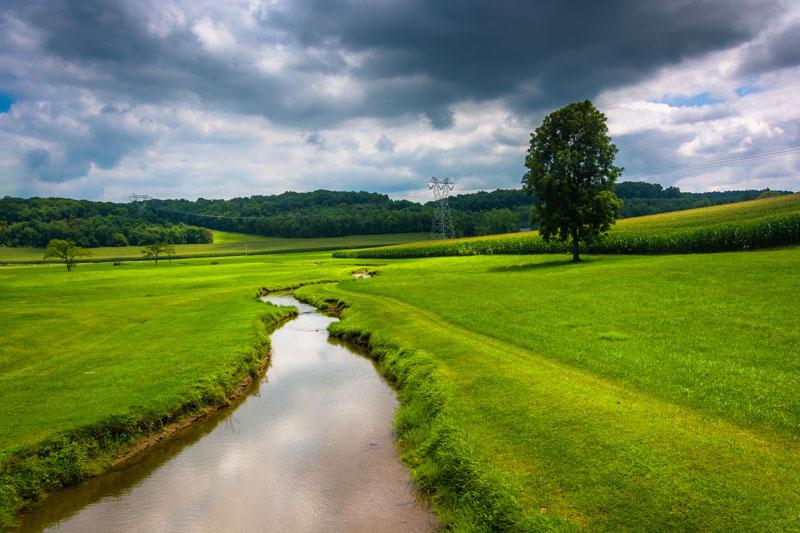 Stream in a green field - Carroll County, MD