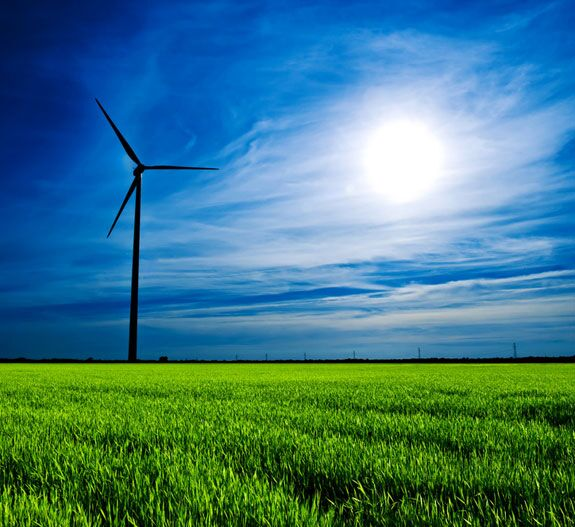 Clean Energy Wind Turbine Sun