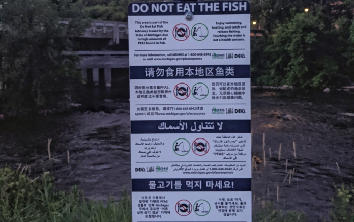 "Warnings ""Do Not Eat The Fish"" due to PFAS in multiple languages"