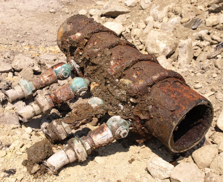 Corroded pipe with lead service fittings. Credit: Mike Thomas / Creative Commons