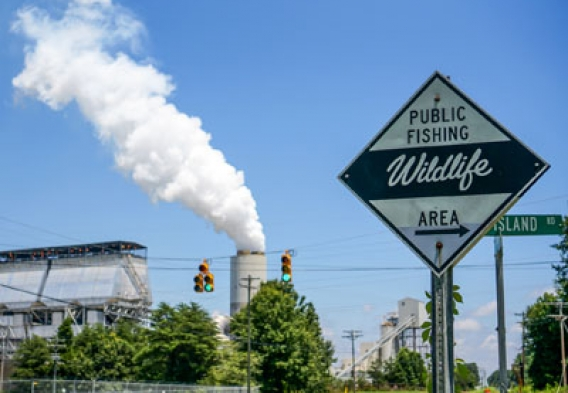Toxic Power Plant near a fishing spot - Photo courtesy Pete Harrsion, Waterkeeper Alliance