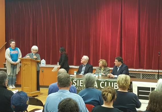 Clean Water Action Massachusetts Advisory Board Member Margot Barnet at the podium in Worcester, MA.