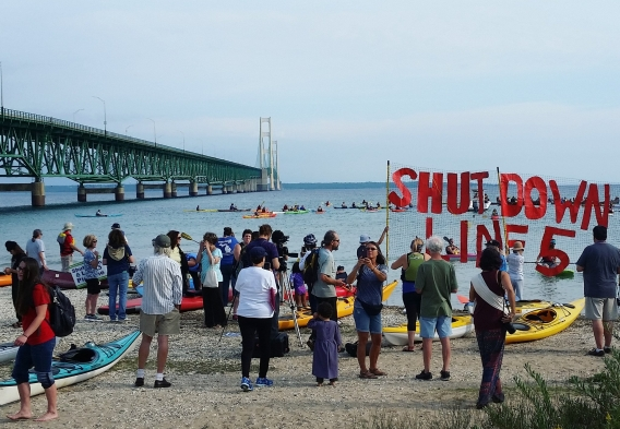 Shut Down Line 5 demonstration on the Straits of Makinac