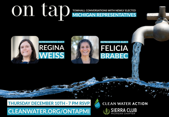 On Tap - Townhall Conversations with newly elected Michigan lawmakers. December 10th at 7 PM: Rep-Elects Regina Weiss & Felicia Brabec.