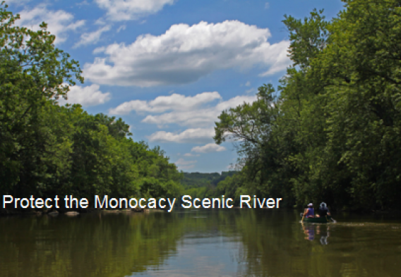 """A picture of kayakers on the Monocacy River with the text """"Protect the Monocacy Scenic River"""""""