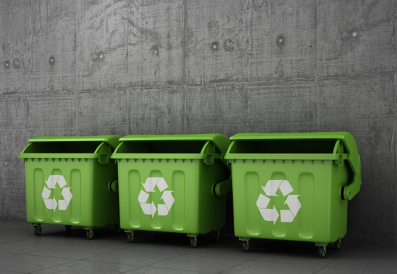 Three green recyling bins. Photo credit: studioVin/Shutterstock