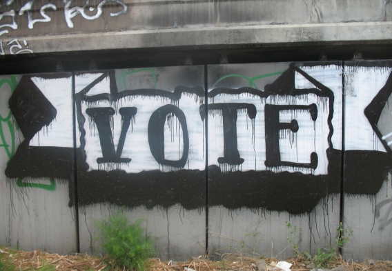 """vote"" in graffiti / photo: flickr.com/25400323@N06 cc"