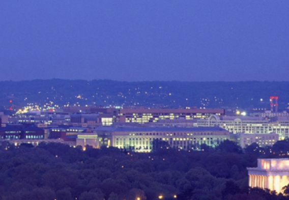 Aerial view of DC at night. Photo credit: Joseph Sohm / Shutterstock